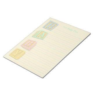 Baby Pastel Cream Alphabet Blocks Custom Notepad