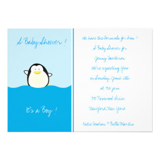 Baby Penguin -Baby Shower Invitations