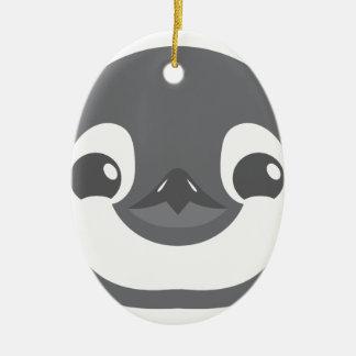 baby penguin face ceramic oval ornament