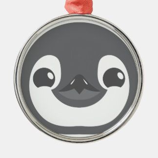 baby penguin face metal ornament
