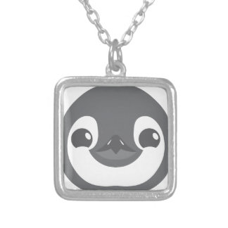 baby penguin face silver plated necklace