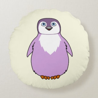 Baby Penguin in Light Purple Round Pillow