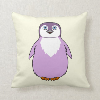 Baby Penguin in Light Purple Throw Pillow