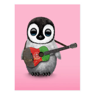 Baby Penguin Playing Afghan Flag Guitar Pink Postcards