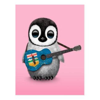 Baby Penguin Playing Alberta Flag Guitar Pink Post Card