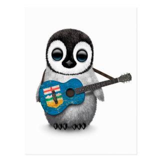 Baby Penguin Playing Alberta Flag Guitar Postcards