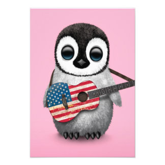 Baby Penguin Playing American Flag Guitar Pink Personalized Invites