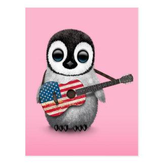 Baby Penguin Playing American Flag Guitar Pink Postcard
