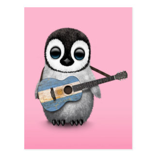 Baby Penguin Playing Argentinian Flag Guitar Pink Post Card