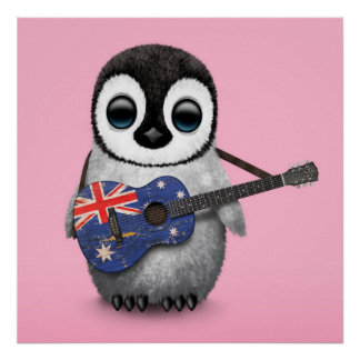 Baby Penguin Playing Australian Flag Guitar Pink Posters
