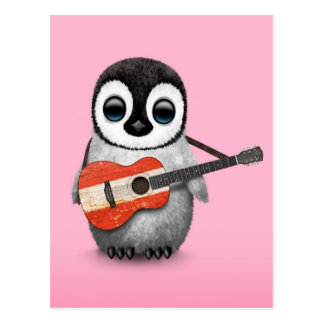 Baby Penguin Playing Austrian Flag Guitar Pink Post Cards