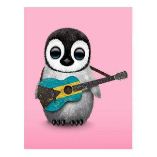 Baby Penguin Playing Bahamas Flag Guitar Pink Post Cards
