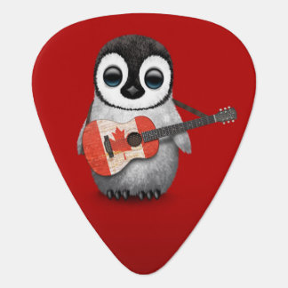 Baby Penguin Playing Canadian Flag Guitar Red Guitar Pick