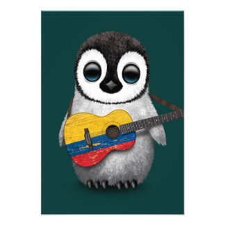 Baby Penguin Playing Colombian Flag Guitar Teal Custom Invitation