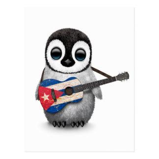 Baby Penguin Playing Cuban Flag Guitar Postcard