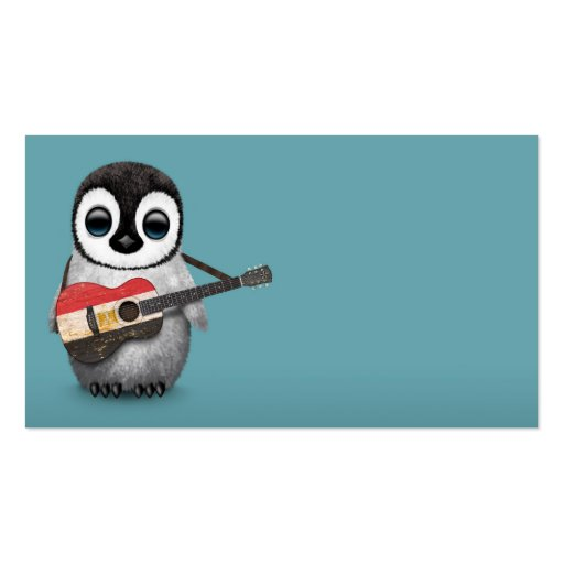 Baby Penguin Playing Egyptian Flag Guitar Blue Business Card