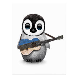 Baby Penguin Playing Estonian Flag Guitar Post Cards