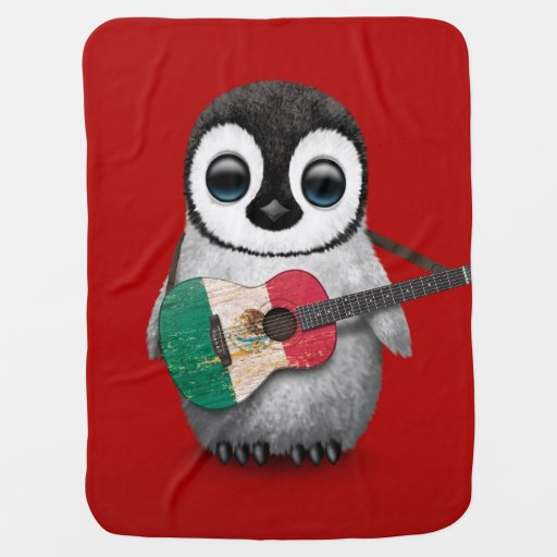 Baby Penguin Playing Mexican Flag Guitar Red Swaddle Blanket