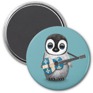 Baby Penguin Playing Quebec Flag Guitar Blue 3 Inch Round Magnet