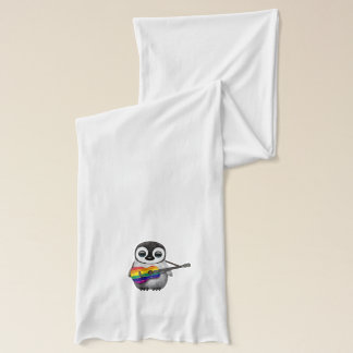 Baby Penguin Playing Rainbow Flag Guitar Scarf