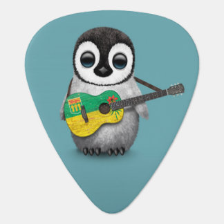 Baby Penguin Playing Saskatchewan Flag Guitar Blue Guitar Pick