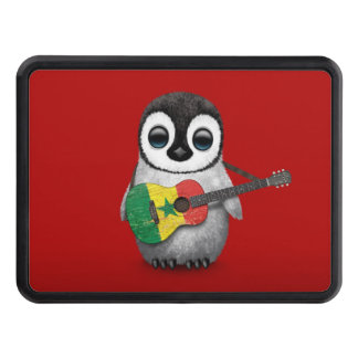 Baby Penguin Playing Senegal Flag Guitar Red Hitch Covers