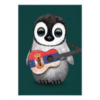 Baby Penguin Playing Serbian Flag Guitar Teal Announcement