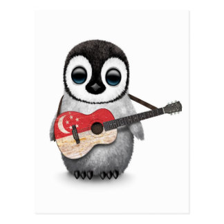 Baby Penguin Playing Singapore Flag Guitar Postcard