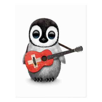Baby Penguin Playing Swiss Flag Guitar Post Card