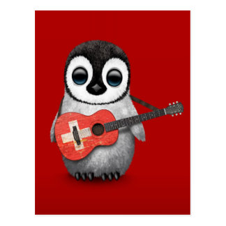 Baby Penguin Playing Swiss Flag Guitar Red Post Cards