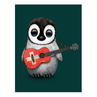 Baby Penguin Playing Swiss Flag Guitar Teal Post Card