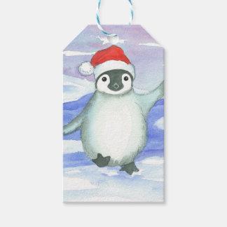 Baby Penguin Santa Cap Gift Tags