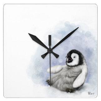 Baby Penguin Slipping Wall Clock