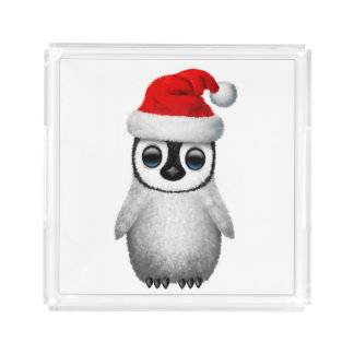 Baby Penguin Wearing a Santa Hat Acrylic Tray