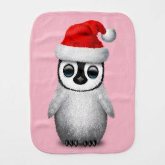 Baby Penguin Wearing a Santa Hat Burp Cloth