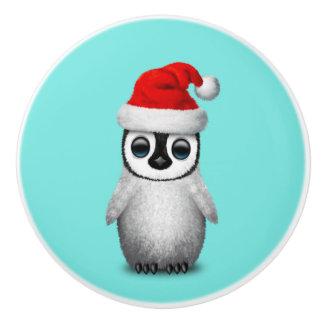 Baby Penguin Wearing a Santa Hat Ceramic Knob
