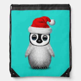 Baby Penguin Wearing a Santa Hat Drawstring Bag