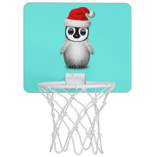 Baby Penguin Wearing a Santa Hat Mini Basketball Hoop