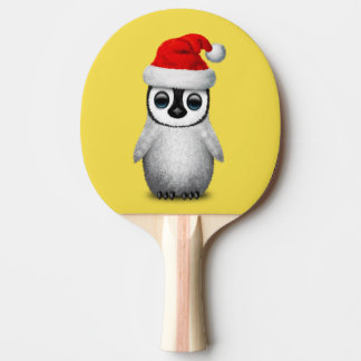 Baby Penguin Wearing a Santa Hat Ping Pong Paddle