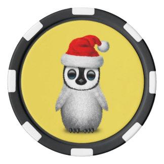 Baby Penguin Wearing a Santa Hat Poker Chips
