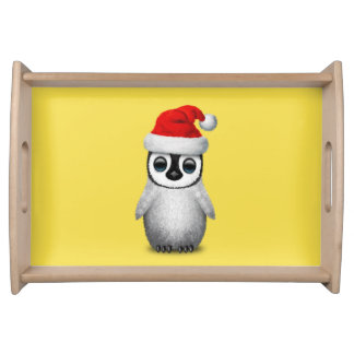 Baby Penguin Wearing a Santa Hat Serving Tray