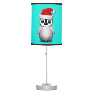 Baby Penguin Wearing a Santa Hat Table Lamp