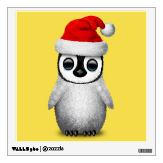 Baby Penguin Wearing a Santa Hat Wall Decal