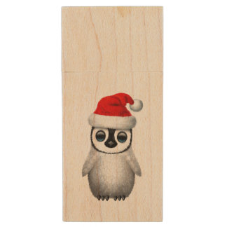 Baby Penguin Wearing a Santa Hat Wood USB Flash Drive