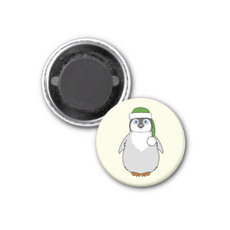 Baby Penguin with Green Santa Hat 1 Inch Round Magnet
