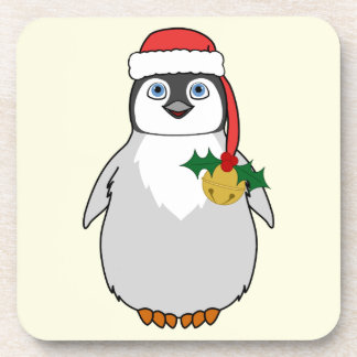 Baby Penguin with Red Santa Hat & Gold Bell Coaster