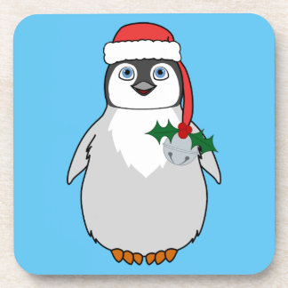 Baby Penguin with Red Santa Hat & Silver Bell Beverage Coaster