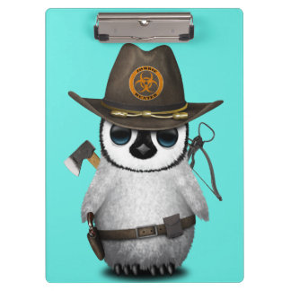 Baby Penguin Zombie Hunter Clipboard