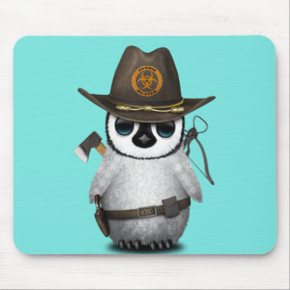 Baby Penguin Zombie Hunter Mouse Pad
