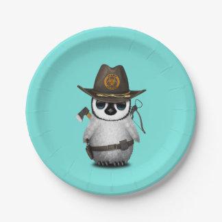 Baby Penguin Zombie Hunter Paper Plate